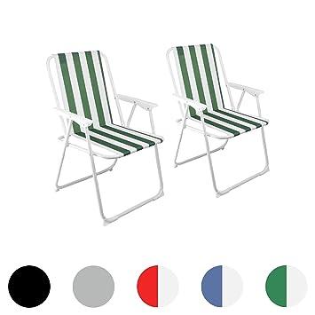 Silla de camping plegable - mobiliario del patio - De rayas verdes y blancas - 2 unidades