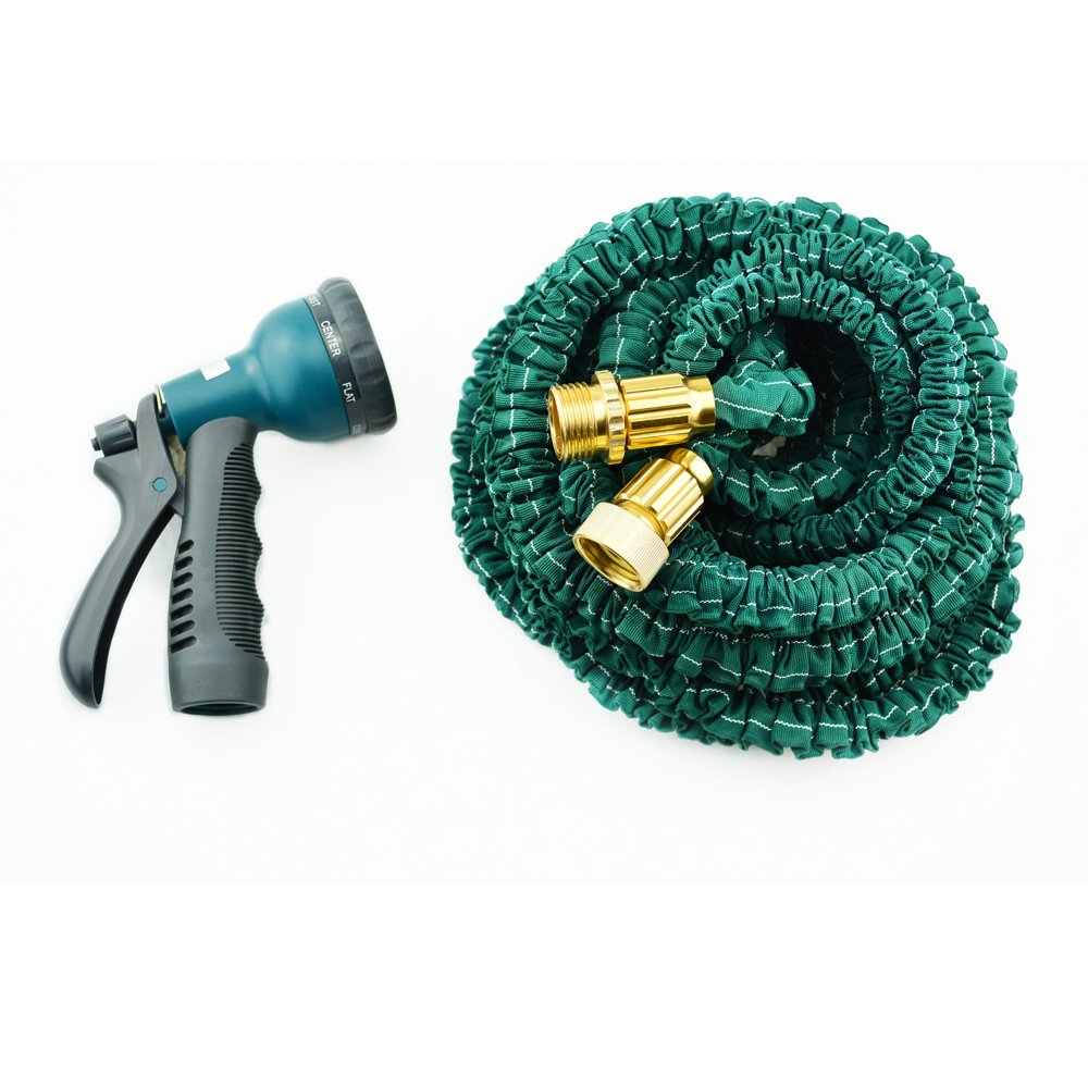 Yowosmart Garden Hose Double Latex Strongest Durable Expandable Garden Magic Hose and 8 Function Spray Nozzle, Brass Ends, Extra Strength Fabric Brass Connectors and 8-pattern Sprayer (75Ft)