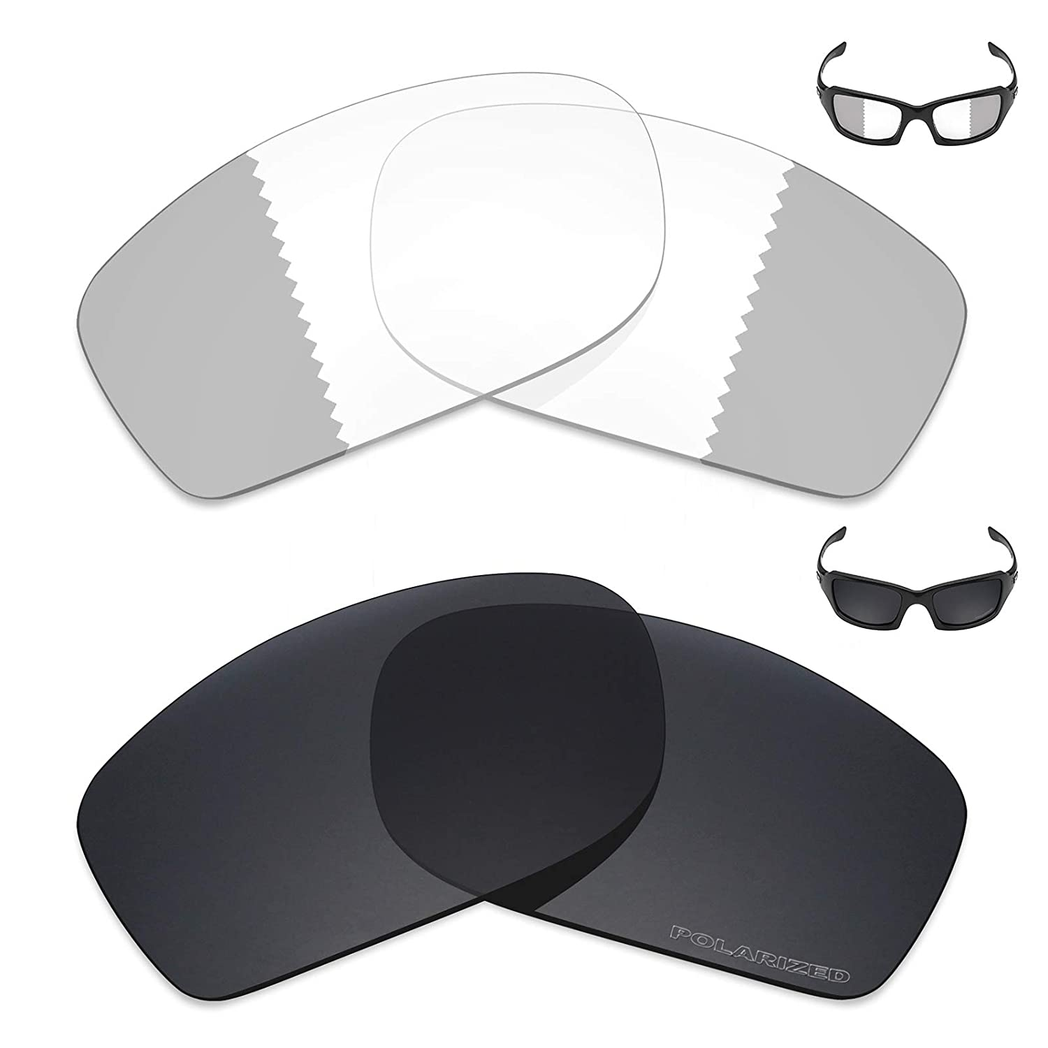 25abef1a8e4 Amazon.com  Mryok+ 2 Pair Replacement Lenses for Oakley Fives Squared  Sunglass - Eclipse Grey Photochromic Stealth Black  Sports   Outdoors
