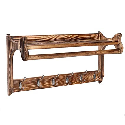 Amazon.com: GuoWei-Coat Rack Wall-Mounted Wood Shelf Metal ...