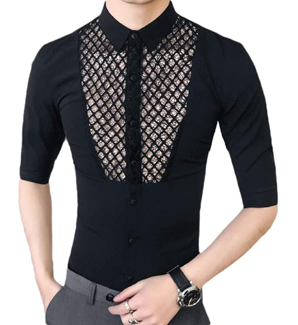 Sanderso Men See Through Splice Fishnet Button Down Shirts Lace Sheer Shirts Black XL