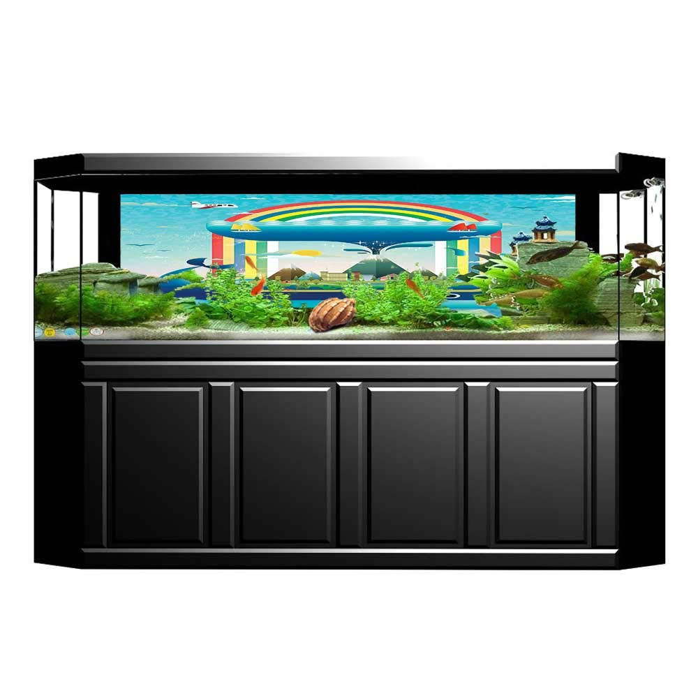 color05 L35.4\ color05 L35.4\ Jiahong Pan Aquarium Background Whale Ecologyal Global with a Rainbow and aWhale Wallpaper Fish Tank Backdrop Static Cling L35.4 x H19.6