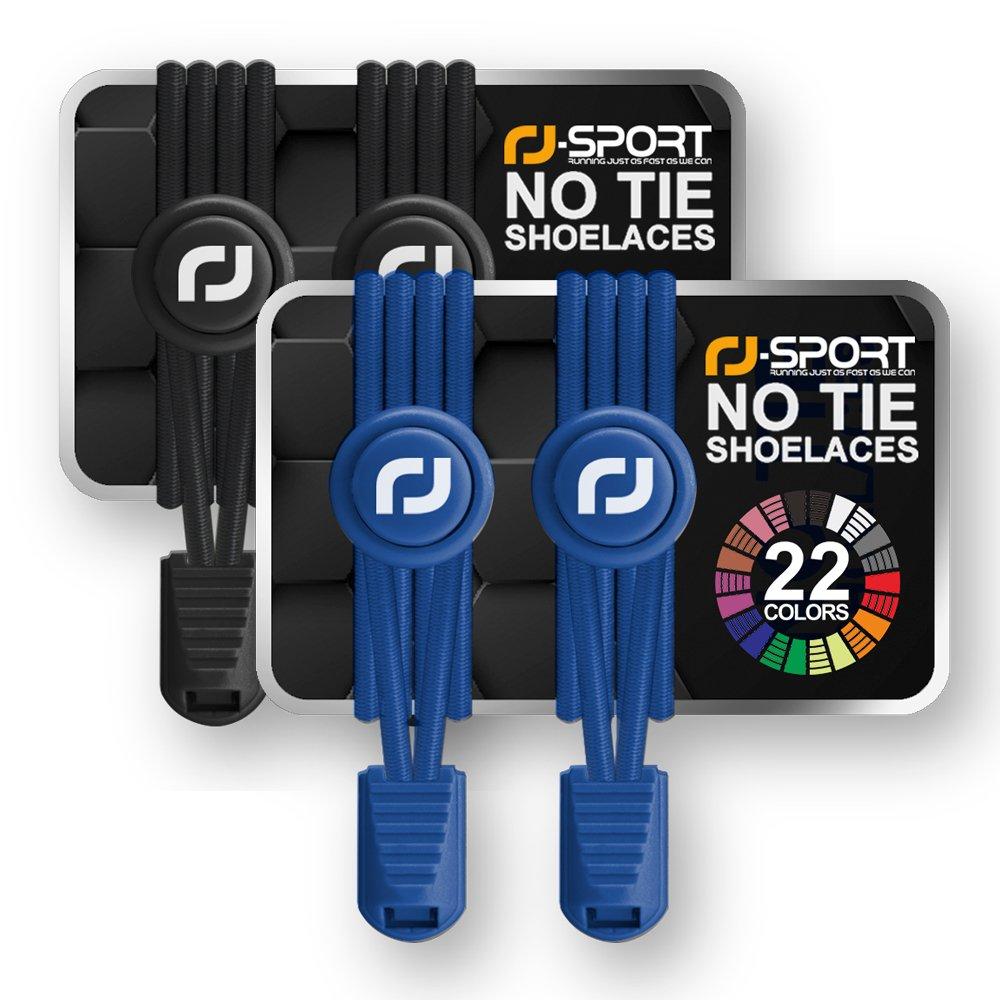 RF-Sport ゴム 結ぶ必要のないシューレース ノータイゴムレースシステム ロック付き 様々な色で使いやすい商品ランナー/お子様に最適 1対 B07437DSGQ ブラック-ブルー ブラック-ブルー