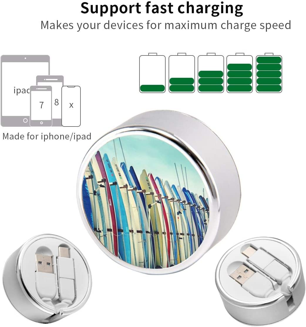 Multi Quick USB Charging Cable,California Surfboards 2 in1 Fast Charger Cord Connector High Speed Durable Charging Cord Compatible with iPhone//Tablets//Samsung Galaxy//iPad and More