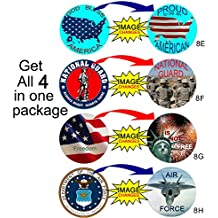 FLASHIES Set of 4 Patriotic Decor Discs 4 Pack for Memorial Day,July4,Veterans,Patriots,Flag Day. Post anywhere or make your own Buttons, Pins, Badges