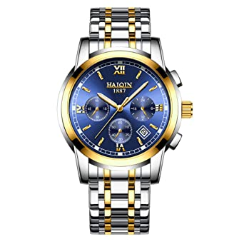 93108c19207a HAIQIN Men s Analog Quartz Watches Waterproof Sports Wristwatch Chronograph  Stainless Steel Dress Business Watch for Men