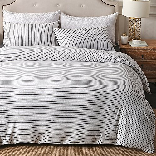 PURE ERA Duvet Cover Set Jersey Knit Cotton 1 Comforter Cover and 2 Pillow Shams Soft Comfy White and Black Stripes King Size (Jersey Quilted)