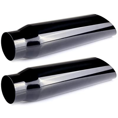 """SCITOO 3 Inch Inlet Black Exhaust Tip 4"""" Outlet 18"""" Long 3"""" x 4"""" x 18"""" Weld-On Angle Cut Stainless Steel Diesel Exhaust Tailpipe Tip for Truck-Pair of Two: Automotive"""