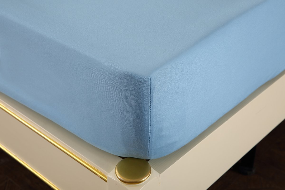 The Gret American Store - HIGHEST QUALITY 1800 Series Brushed Microfiber 21'' Extra Deep Pocket Sheet Set - Wrinkle, Fade, - Hypoallergenic - Solid Light Blue Expanded Queen Size by The Great American Store (Image #3)