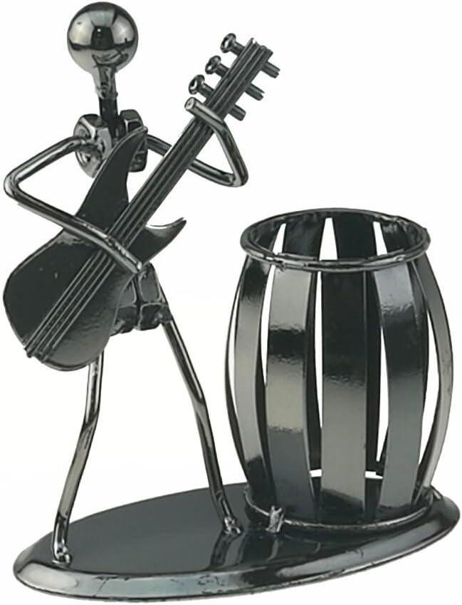 Music Iron Man Art Steel Pen Container Holder Pencil Cup Pot Secretary Desktop Music Decoration Toy Gift (C164 Electric Guitar)