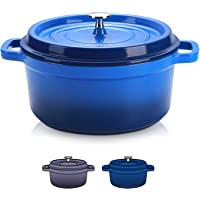 Sulives Non-Stick Enamel Cast Iron Dutch Oven Pot with Lid Suitable for bread baking use on gas electric oven 1.5 Quart…