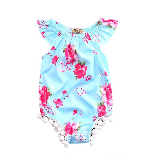7bb31b9667c2 Amazon.com  Toddler Baby Girls Summer Floral Romper Jumpsuit ...