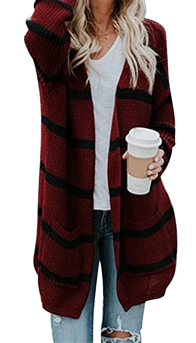 0d1403bb16 ARTFFEL Womens Autumn Winter Stripe Knitting Open Front Chunky Warm  Cardigans Loose Cardigan Sweaters Coat at Amazon Women s Clothing store