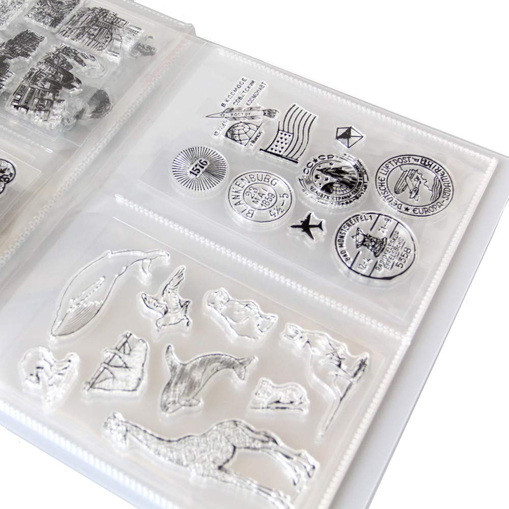 Clear Stamps Storage Folder Paper Craft Keeper Cards Storage Album can Hold 40pcs Clear Stamps 3.8''x5'' 2 per Page Clear Stamps Dies Organizer