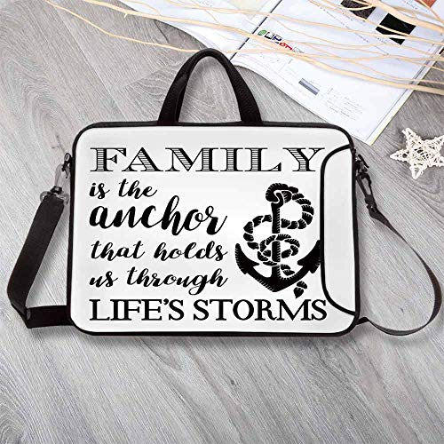 """Family Wear-Resisting Neoprene Laptop Bag,Family is Anchor That Holds Us Inspiration Stylized Writing Anchor with Rope Laptop Bag for Laptop Tablet PC,17.3""""L x 13""""W x 0.8""""H (Rope Inspirations)"""