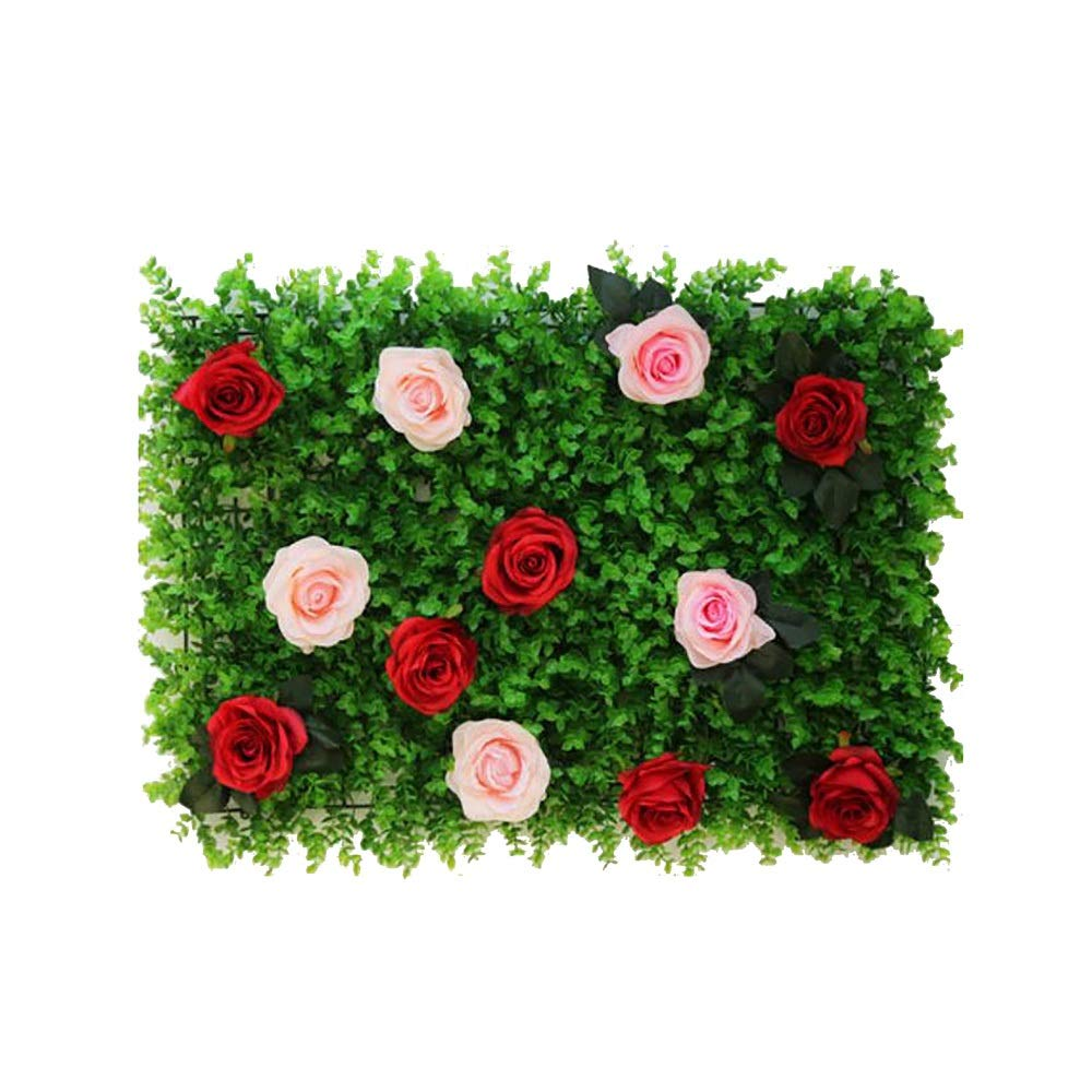 MS Furniture Wedding Flower Wall Simulation Flower Arrangement Rose Three-Dimensional Decoration Fake Flower Decoration Arch Studio Background Wall Window Decoration Wall (Multiple Colors Optional) @ by MS Furniture