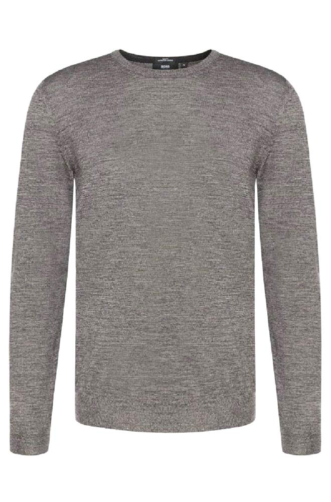 Hugo Boss New Gray Extra FINE Merino Wool Slim FIT Leno-B Crewneck Sweater SZ S