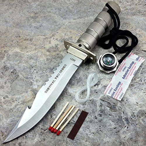 "10.5"" Defender Bone Edge Saw Back Hunting Tactical Survival Knife Gut Hook Bowie Military Combat with Sheath and Survival Kit 
