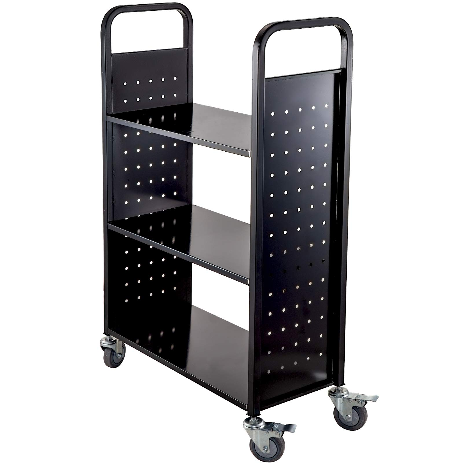 BestEquip Book Cart 200lbs Library Cart 30x14x45 Inch Rolling Book Cart with Large Flat Shelves and 4 Inch Lockable Wheels Welded Steel for Home Shelves Office and School Book Truck in Black by BestEquip