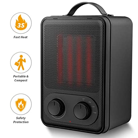 Portable Space Heater 1500W Fast Heat Ceramic Space Heater for Office Small Room Desk, Electric Space Heater with Multi Thermostat, Overheat Tip-Over Protection, Hot Cool Fan Heater for Indoor Use