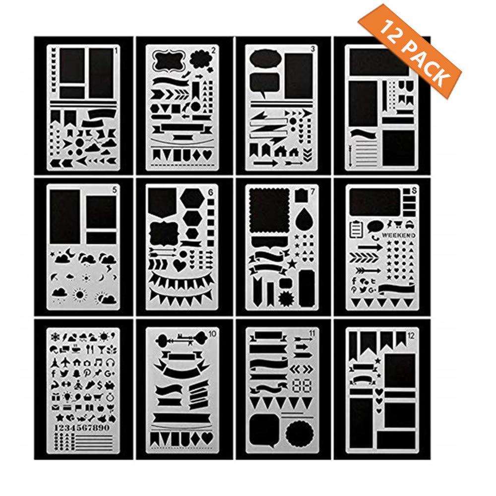 MUXItrade 12 pezzi di plastica Bullet Journal set di stencil template DIY Different Styles Stencils, disegno planner modelli, Giocattolo Educativo Ideale e Kit Creatività