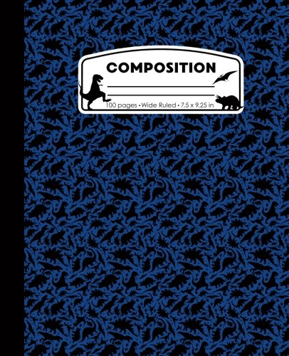 Composition: Dinosaur Blue Marble Composition Notebook. Dino T-Rex Wide Ruled Book 7.5 x 9.25 in, 100 pages, journal for girls boys, kids, elementary school students and - T-rex Marbles