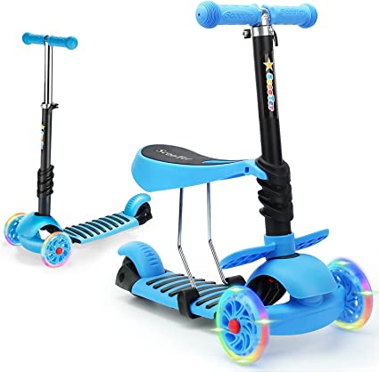 KIDS SCOOTER 5-IN-1 ADJUST SEAT TODDLER KICK SCOOTER FLASHING WHEELS CHILD TOYS