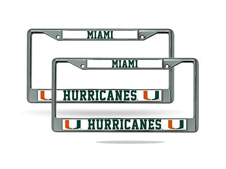 Amazon.com : Miami Hurricanes Chrome License Plate Frame - Set of 2 ...