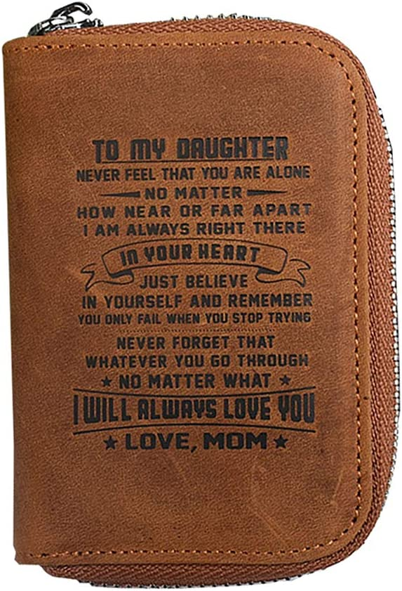 Badiya Leather Credit Card Case Holder Wallet RFID Dad Mom to Son Daughter Best Birthday Gifts
