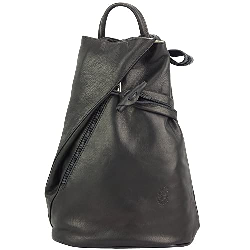 32e70101cb BACKPACK PURSE AND SHOULDER BAG FIORELLA WITH MANY POCKETS IN GENUINE  LEATHER 2062 (Black)
