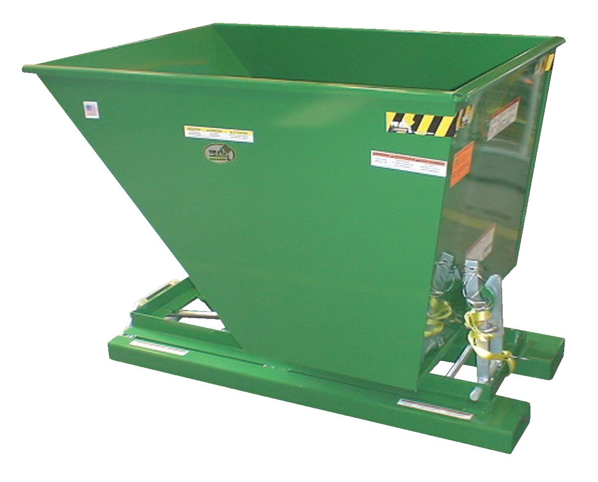 Vestil D-75-HD-GRN-T Self-Dump HD Hopper, 0.75 cu. yd, 6000 lb. Capacity, Overall L x W x H (in.) 61-1/8'' x 31-9/16'' x 42-3/4'', Green