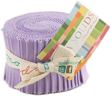 Moda Tela Bella Sólidos Junior Jelly Roll Bebé Azul-Patchwork Quilting 2.5...