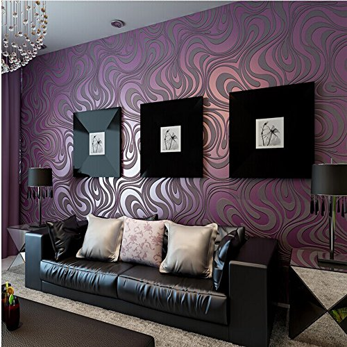 10M Modern Luxury Abstract Curve 3d Wallpaper Roll Mural Paper Parede Flocking for Striped Purple Color 0.7m8.4m=5.88SQM - Purple Striped Wallpaper