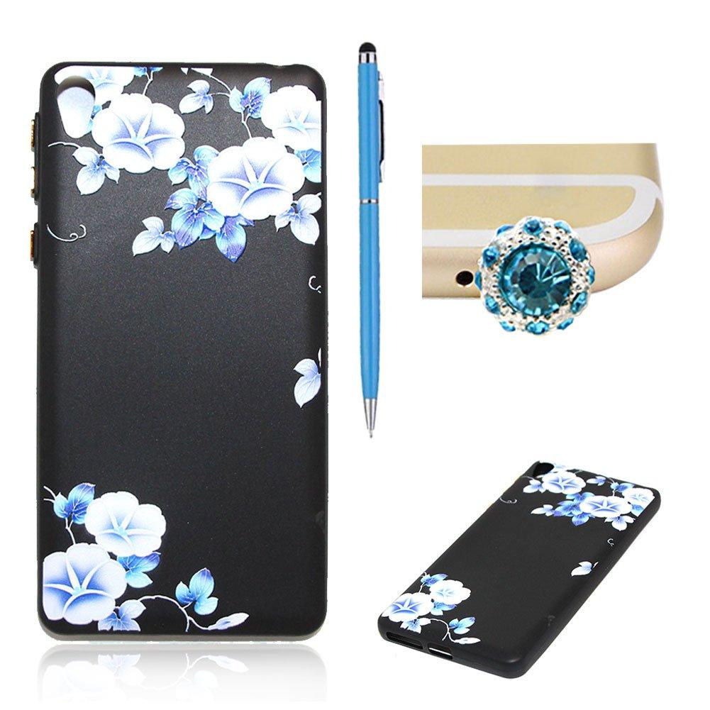 Für Sony Xperia E5 Hülle Silikon Schwarz Schutzhülle, SKYXD Blumen Serie [Blaue Blume] für Frauen Mädchen Handytasche mit [Staubstecker + Eingabestift] Handyhülle für Sony Xperia E5 Case Backcover CSFD_TPU