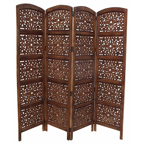 Decorative Mdf Panels (The Urban Port 148948 Handmade Foldable 4-Panel Wooden Partition Screen/Room Divider, Brown)
