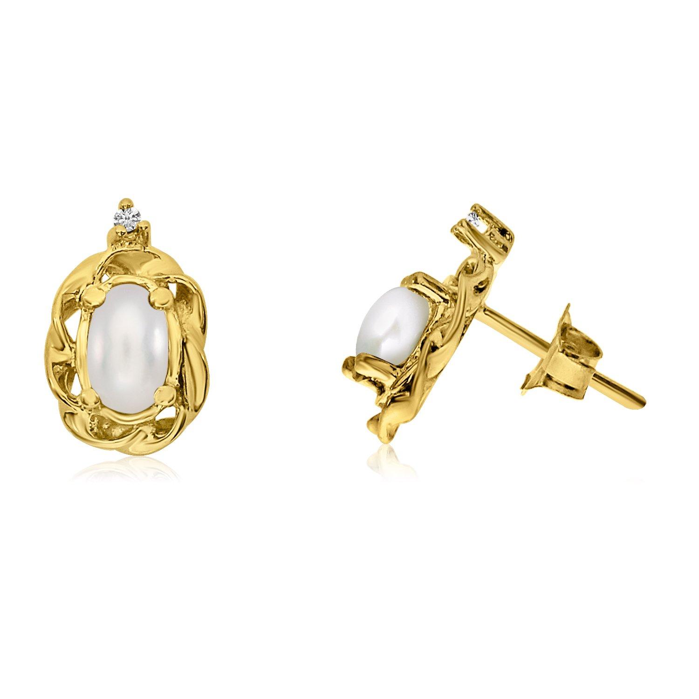 Jewels By Lux 14k Yellow Gold Studs Gemstone Scroll Diamond Earrings