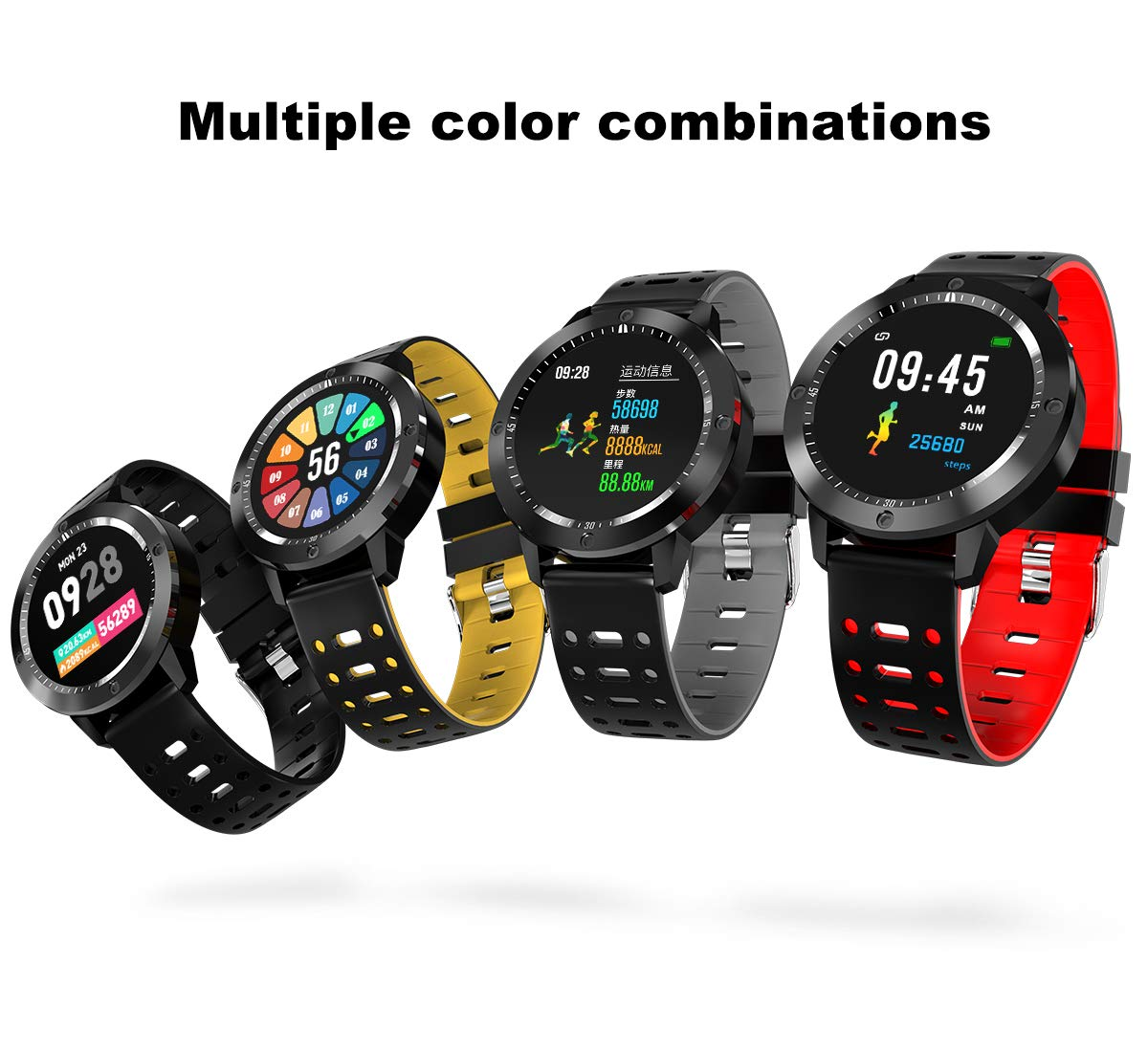 Smart Watch with Blood Pressure, Businda Smart watch Heart Rate Monitor Tracker IP67 Waterproof Wristband Color Screen Activity Watch with Continuous Heart Rate Sleep Monitor for Kids Women Men by Businda