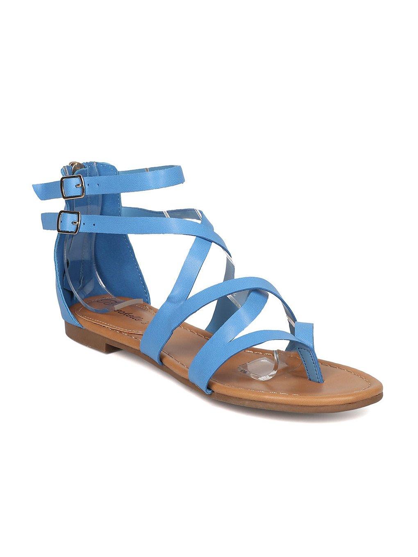 e61f360a08 Breckelle's Women Leatherette Strappy Gladiator Sandal GG54 - Blue (Size:  6.0)