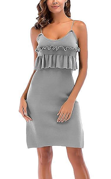 Vestidos Mujer Vestidos De Fiesta Cortos Elegantes Sin Mangas Hombro Descubierto Volantes Slim Fit Moda Vestido Coctel Vestidos Cortos: Amazon.es: Ropa y ...