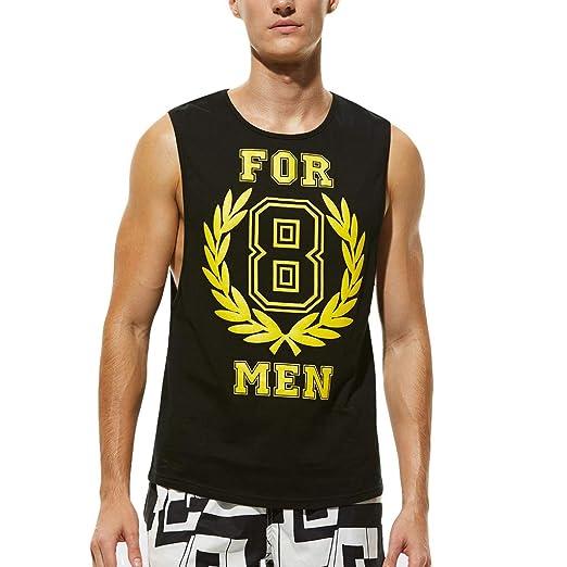 4aaf233d91fdd2 Amazon.com  HTHJSCO Tank Tops Mens Summer Letter Printed Slim Sleeveless  Outdoor Vest Blouse  Clothing