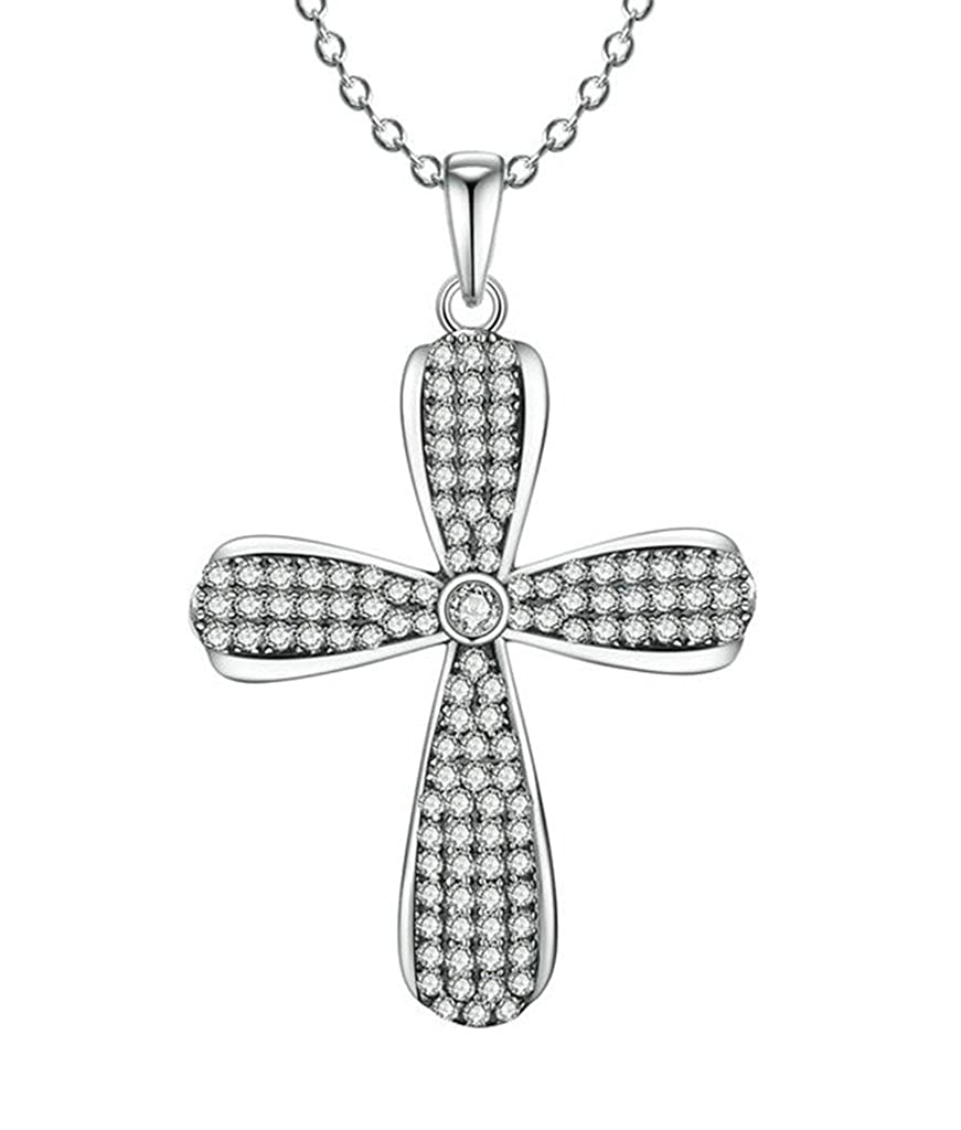 Daesar Silver Plated Necklace Women CZ Pendant Cross Necklaces Rhinestone Infinity Necklace for Women