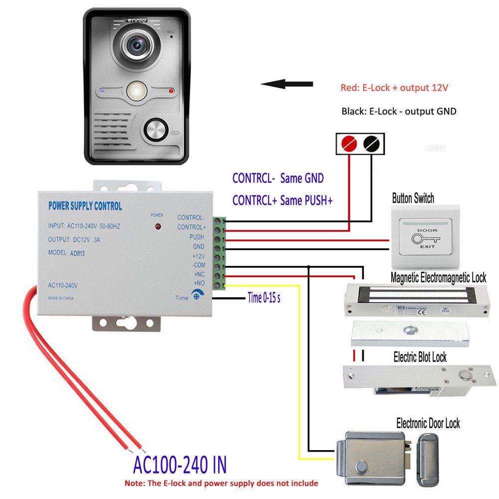Mountainone 7 Inch Video Door Phone Doorbell Intercom Below Are Wiring Diagrams For The Cat5 Wired System Kit 1 Camera 3 Monitor Night Vision 3pcs 10m Cable Photo