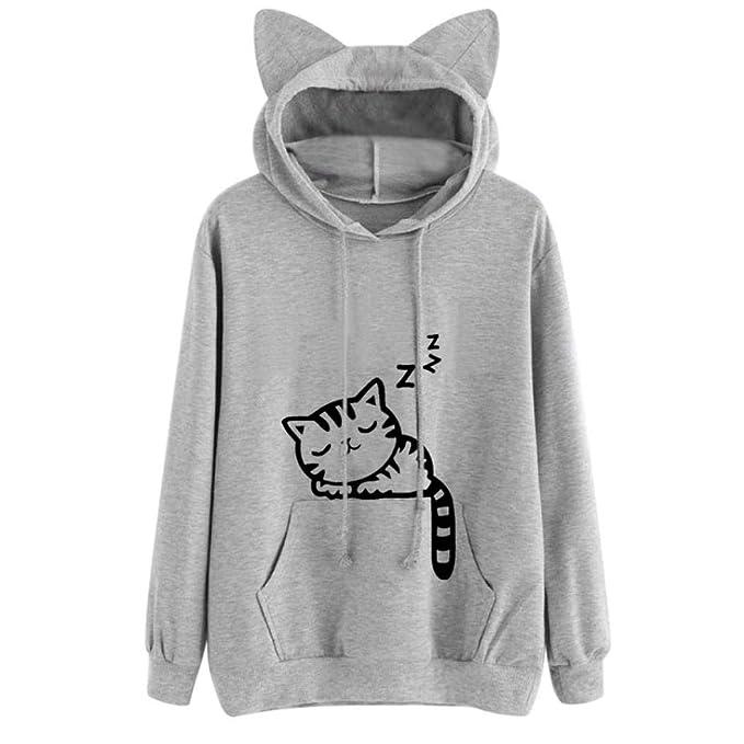 OtoñO para Mujer Gato De Manga Larga con Capucha De Moda Sudadera con Capucha SuéTer Tops Blusa SeñOra Superior: Amazon.es: Ropa y accesorios