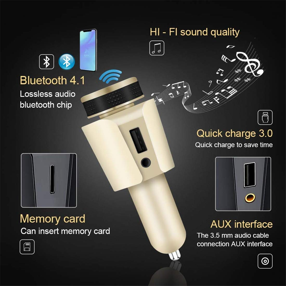 Sans fil en voiture 4.1 Bluetooth Transmetteur FM r/écepteur Kit//QC3.0 Adaptateur Radio//main-libre Haut-parleur//HI-FI Lecteur audio TF de soutien//SD AUX Voltm/ètre//USB Chargeur allume-cigare
