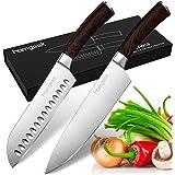 Homgeek Kitchen Chef's Knife Set 8inch, 2 Piece Ultra Sharp Cutting Knife 8 inch Chef Knife & 7 inch Santoku Knife, German Hi