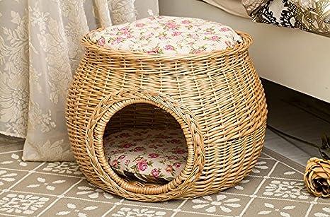 Amazon.com: M Tamaño Handmade Cesto de mimbre Dog Cat House ...