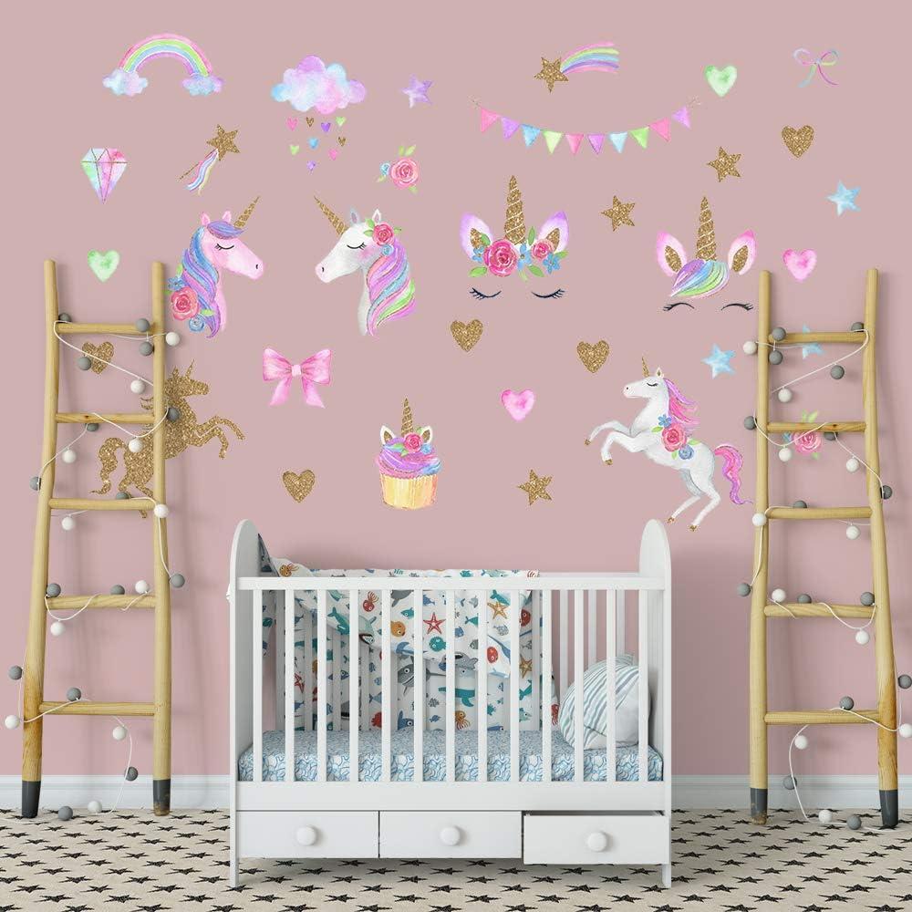 Supzone Unicorn Wall Stickers Rainbow Girls Room Wall Decals Vinyl Removable Baby Nursery Bedroom Kids Living Room Wall Decor