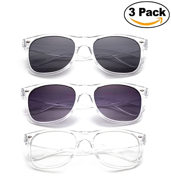 Amazon.com: 80\'s Classic Blue Brothers Clear Lens Wayfarer Styles ...
