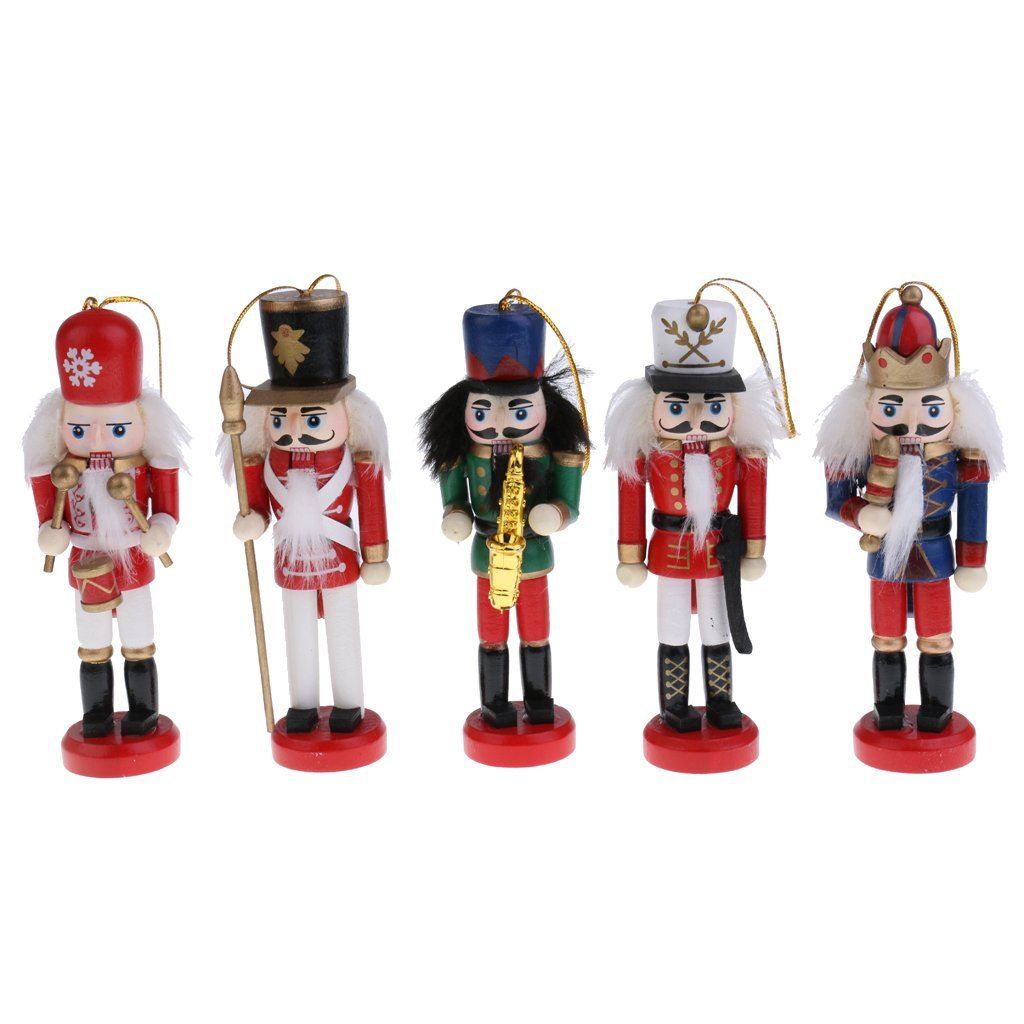 Jili Online 5Pcs Exquisite Colorful Wooden Nutcracker Drummer Figurines Handcrafts Christmas Ornaments Friends Children Gifts House Office Home Decor and Display 12cm