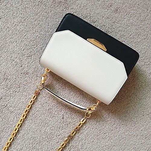 Mujer Bolsa Negro Cadena para Cuero Hombro Bolso para ZHANGJIA de de Blanco Temperamento Bolso Mujer Mujer Hombro Bolso de para vHxZq